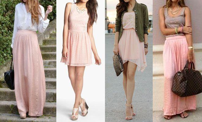Faldas y vestidos rosa palo
