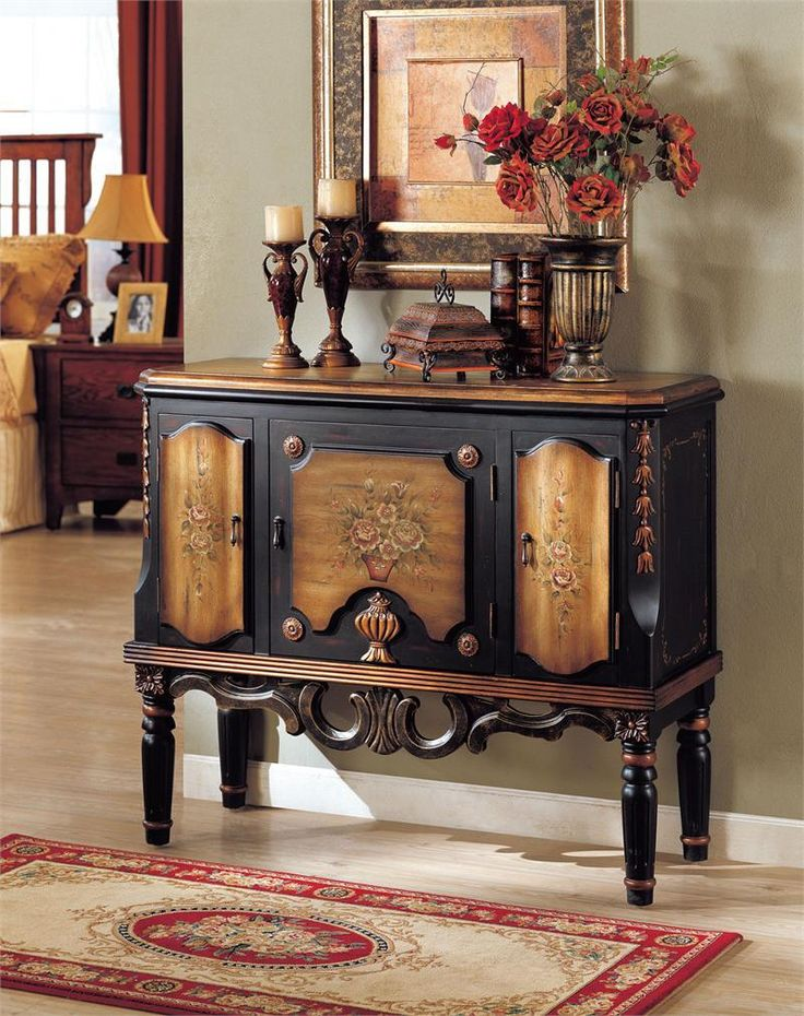 "Browse the 44"" Clara Floral Espresso Hallway Console Accent Chest for your hallway. Find the best deals on accent chests for your home."
