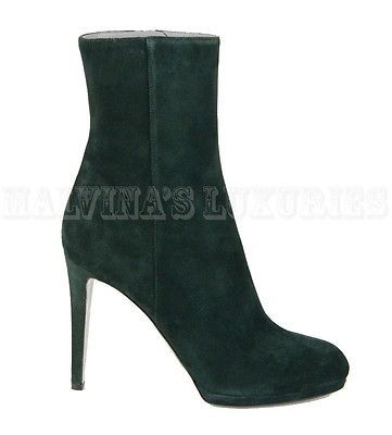 $785 SERGIO ROSSI ANKLE BOOTS GREEN SUEDE LEATHER BOOTIES HIGH HEEL