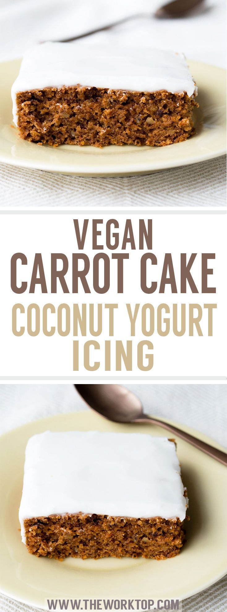 Vegan Carrot Cake with Coconut Yogurt Icing. A beautiful sheet cake with a lovely crumb texture. Healthy and delicious. Recipe from www.theworktop.com. #carrotcake #vegancake #coconut