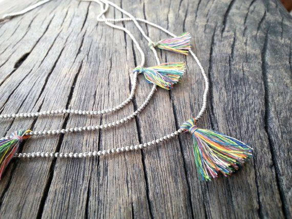 Silver Beaded 3 Strand Long Necklace Rainbow by PiscesAndFishes