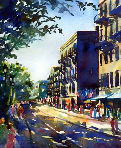 River Street, Savannah watercolor by Jennifer Branch