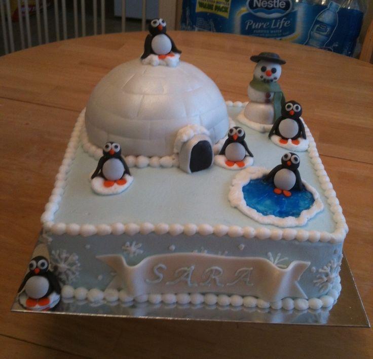 Birthday Cake Ideas Penguin : Children s Birthday Cakes - wintery, penguin birthday cake ...