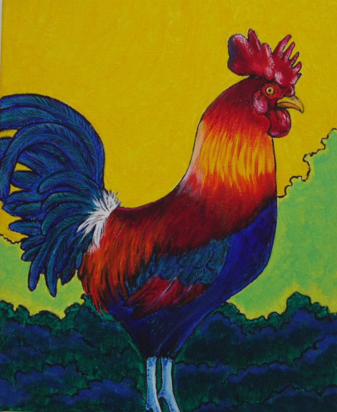 red rooster painting, kitchen decor, farmhouse decor, animal artwork, funky bird art, colorful rooster canvas, year of the rooster artwork by TracyMcGeheeArtist on Etsy