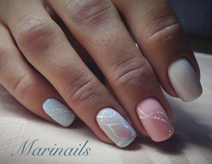 @pelikh_Delicate nails, Delicate wedding nails, Gentle nails with a picture, Gentle prom nails, Gentle short nails, Gentle summer nails, Manicure by summer dress, Pale nails 2016