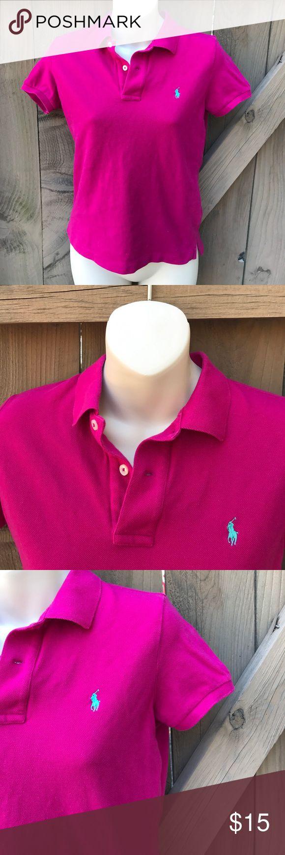 Size M Ralph Lauren hot pink skinny polo shirt Size M Ralph Lauren hot pink skinny polo shirt Ralph Lauren Tops