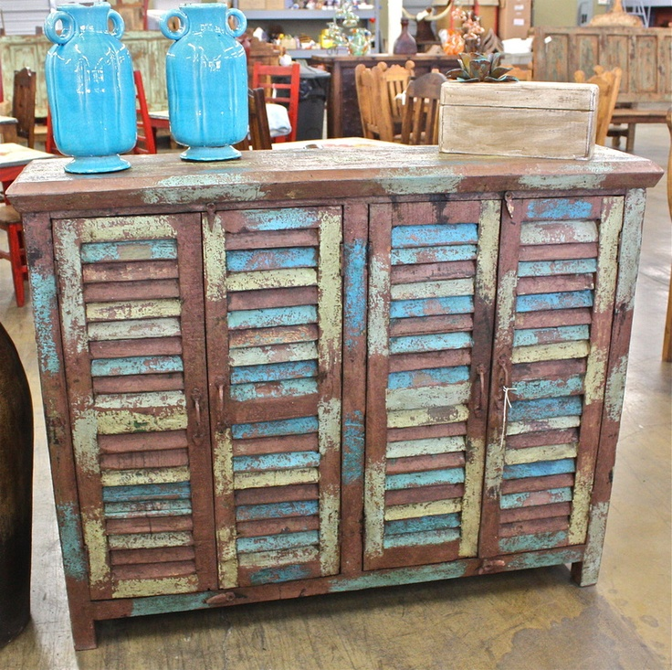 Reclaimed teak rustic shutter cabinet with a ruff aged finish - $525 - 30 Best PAINTED I LOVE AGAVE RANCH FURNITURE Images On Pinterest