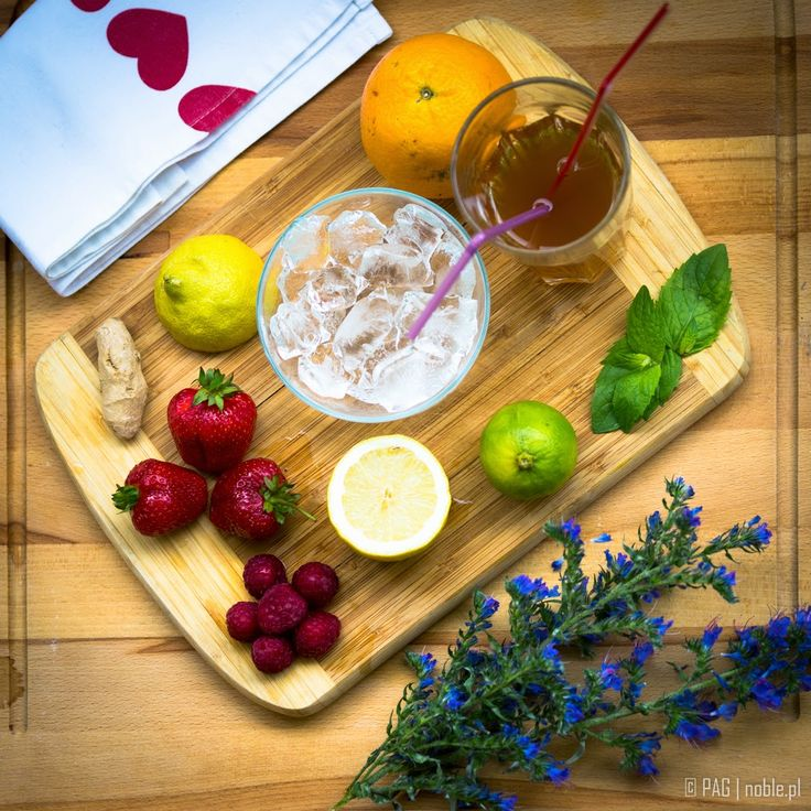 How about a homemade ice tea? Lemon, lime, orange, fresh strawberries, raspberries, ginger, few mint leaves, and the tea of course!   Like it? Diets, recipes, activities & more @ http://agnieszkasportygirl.blogspot.com/