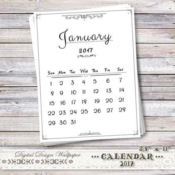 Printable Calendar 2017Desk CalendarMonthly by DigitalDesignPaper