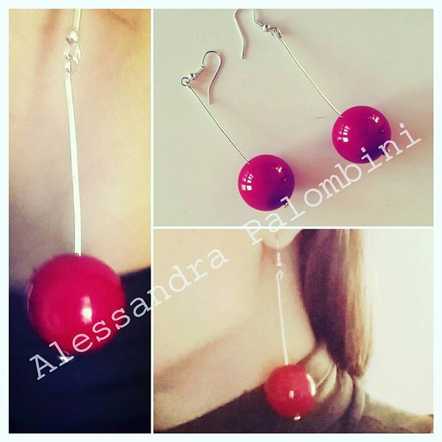 At work ... #ilovemywork #cherry #earrings #handmade #silver #inspiration #alessandrapalombini #ciliege #orecchini  #red  #jewel #myartwork #design #jeweldesign