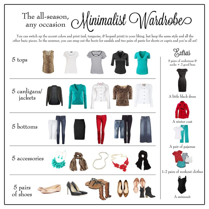 NO LINK; for visual reference only. All season any occasion minimalist capsule wardrobe white black teal turquoise red leopard animal print stripes