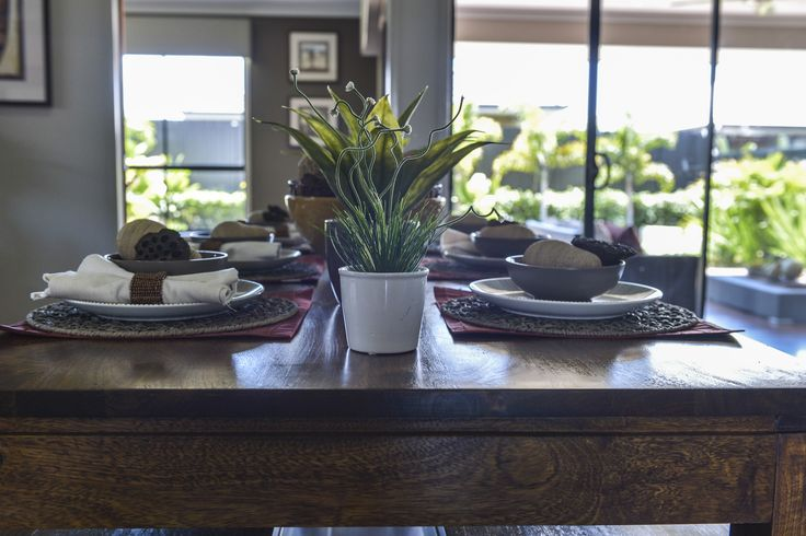 This #table #setting is from an Ausbuild display home. This table has an eco-urban inspired theme. www.ausbuild.com.au.