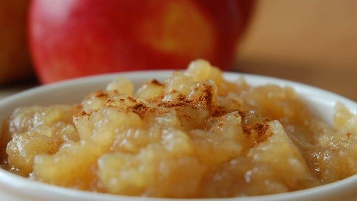Make your own applesauce at home with just apples, sugar, cinnamon, and this recipe. (I omit the sugar--still wonderfully sweet:)