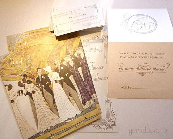 Invitații și accesorii pentru nuntă Gatsby - yorkdeco.ro