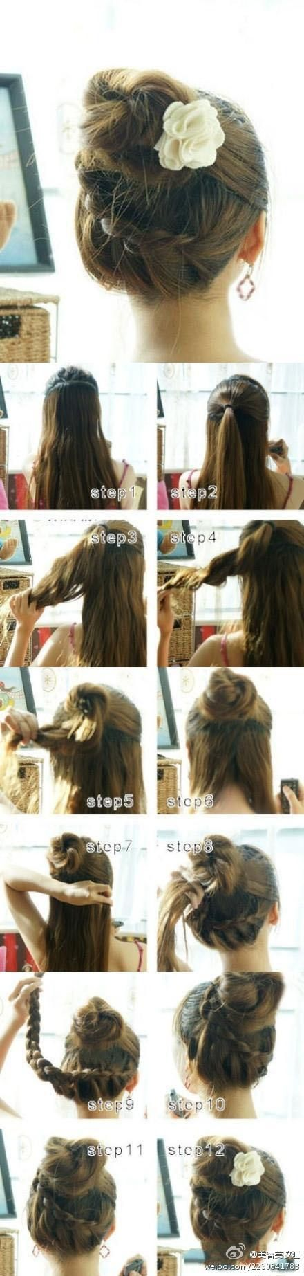 long hair: Idea, Hairstyles, Braid Buns, Hair Styles, Makeup, Braids, Updo, Braided Bun