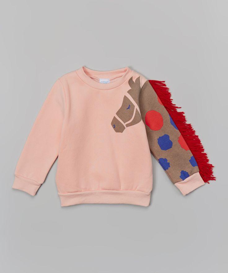 Leighton Alexander Pink Horse Sleeve Sweatshirt - Toddler & Girls | zulily