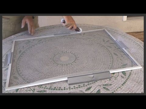 Do it yourself video on how to repair your own window screens. A spline roller, flat blade screwdriver, duct tape, scissors, and utility knife are all you ne...