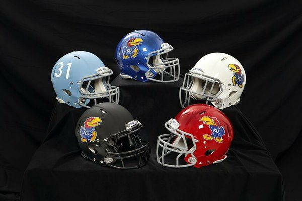 The Kansas University football program unveiled five new looks for the team's helmets, four of which now feature the Jayhawk on the sides. (Photo courtesy of KU Athletics)