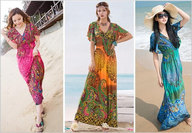 Bohemia Printing Sea Beach Dress Ice Silk Show Thin Holiday Dresses, Cultivate One's Morality Dress Bohemian Dress Beach Dress Online with $23.99/Piece on Violet_rose's Store | DHgate.com