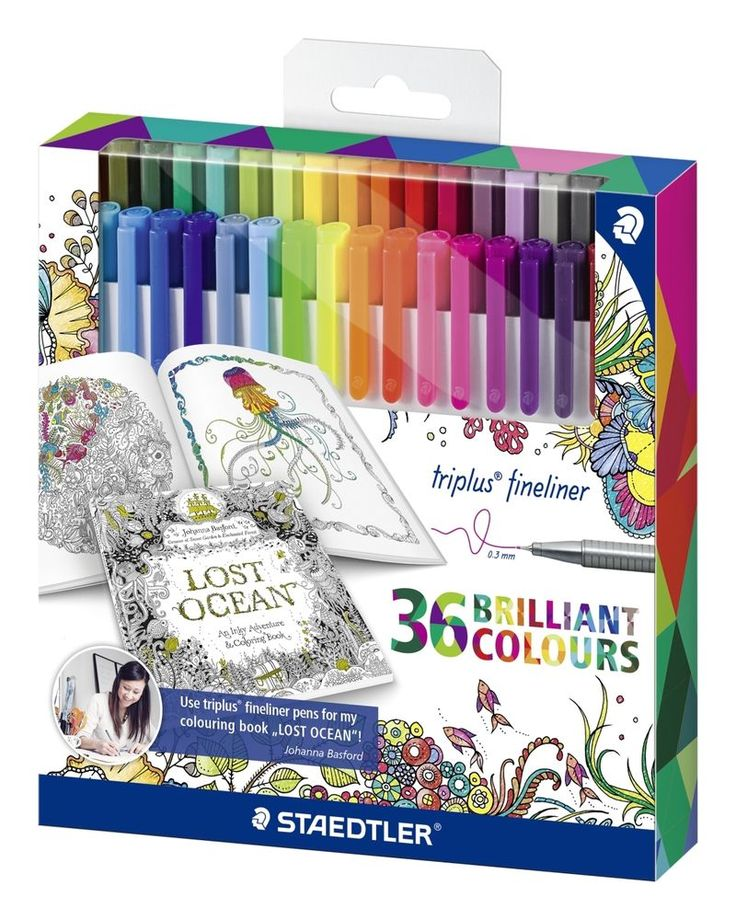 Ultimate Colour Therapy with these Staedtler Triplus Fineliner/Triangular Pens/36 Brilliant Colours/Adult Colouring