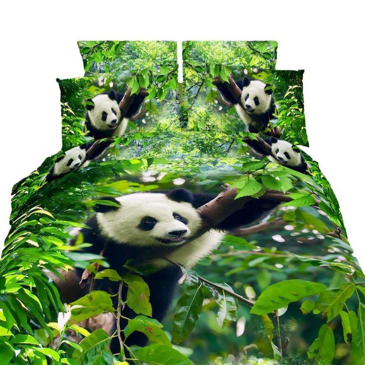 Queen Size Duvet Cover Sheets Set, Cute Panda