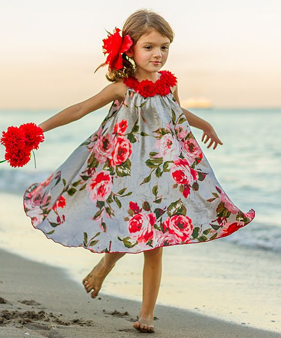 Mia Belle Baby Silver & Red Flower Swing Dress - Toddler & Girls | zulily
