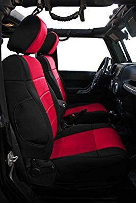 Homeyone Tailor Made Neoprene Seat Covers Set fit 2011 to 2012 Jeep Wrangler JK Unlimited 4 Door (Black/Red)