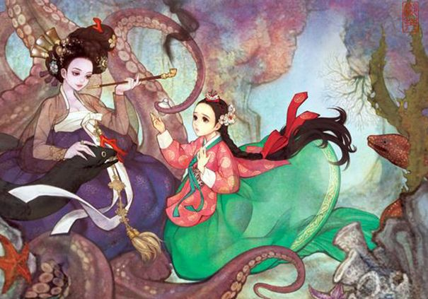 Beloved Fairy Tales Re-imagined in an East Asian Style by Korean artist Na Young Wu. The Little Mermaid