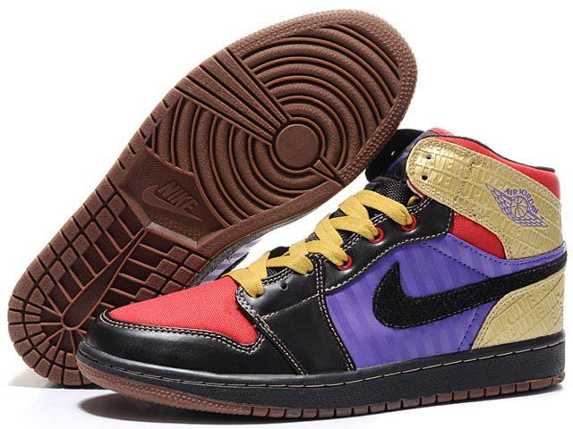 111cb85220a0 Nike Air Jordan 1 High Shoes In Black Purple Yellow Red