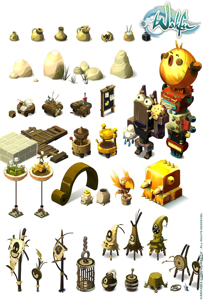 Wakfu MMORPG. Background isometric pictos