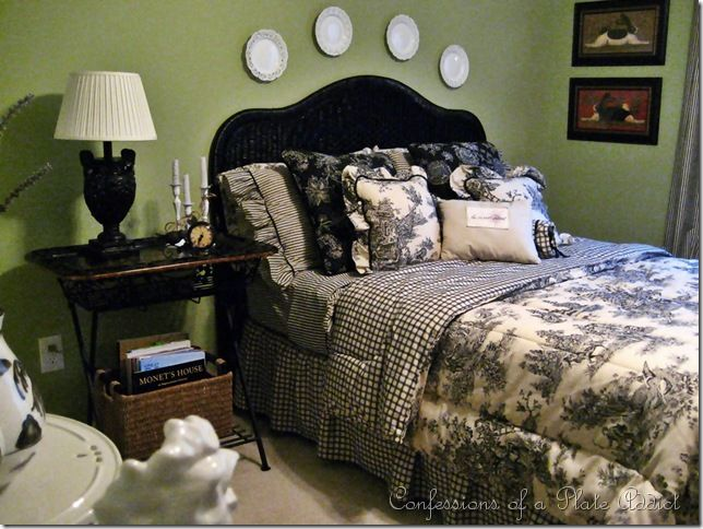 love this toile bedding and the green walls great inspiration for small bedroom
