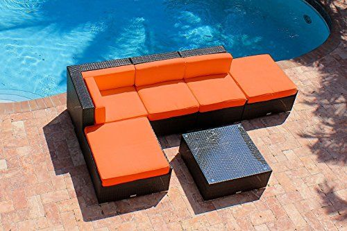 Special Offers - 6 Piece Outdoor Patio Furniture Modern Sofa Couch Sectional Modular Set  AKOYA Wicker Collection (Orange) - In stock & Free Shipping. You can save more money! Check It (January 21 2017 at 11:19AM) >> https://gardenbenchusa.net/6-piece-outdoor-patio-furniture-modern-sofa-couch-sectional-modular-set-akoya-wicker-collection-orange/