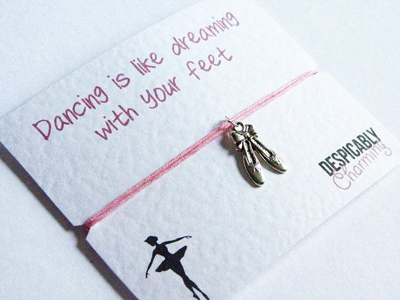 Ballet Dance Friendship Bracelet Wish with Silver Ballet Shoes Charm - Perfect BFF Gift or Bridesmaid Gift