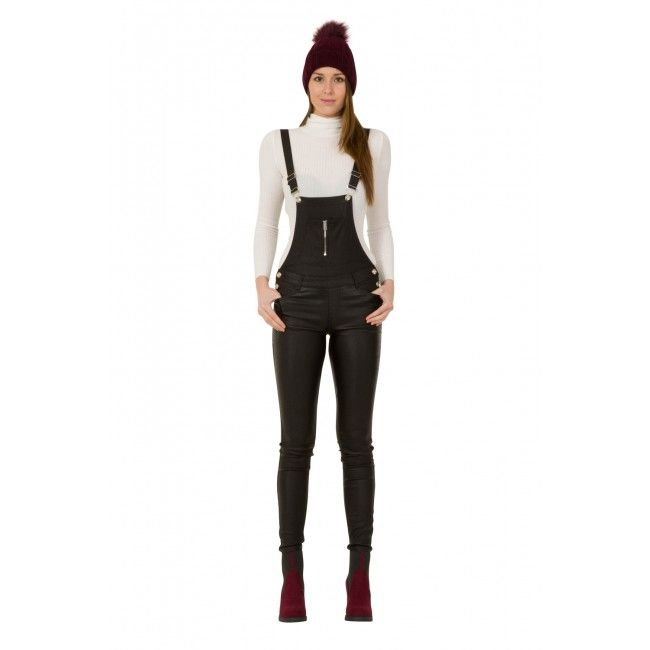 Womens Black Skinny Dungarees - Leather Look. (Gigi). #overalls #dungarees