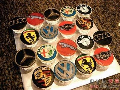 Car Cakes for Men | car logo cupcakes found amidst this gallery of car cakes via and a few ...