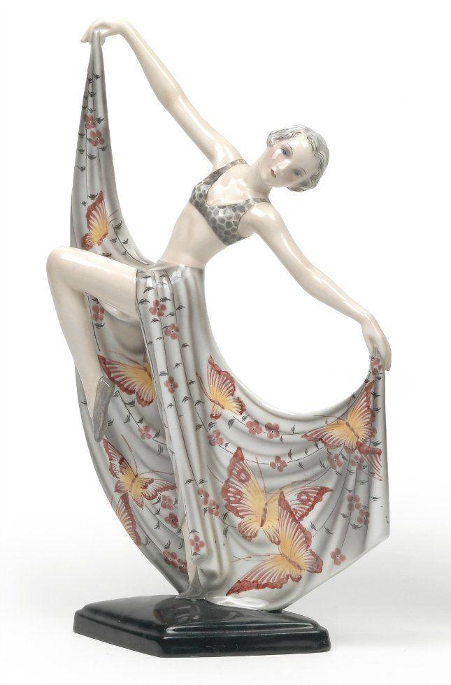 Josef LORENZL - А dancer designed c. 1930-1935, manufactured by Goldscheider, Vienna, model no. 7053/307/10, h. 40.5 cm