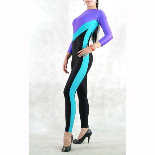 Purple Blue and Black Mixed Color Lycra Spandex Zentai Catsuit Costume
