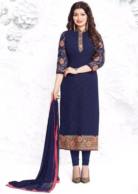 Ayesha Takia Navy Blue Churidar Kameez Set - Salwar Kameez - Women