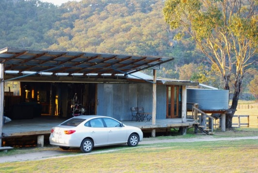 Shearing Shed from the outside, rustic luxury inside
