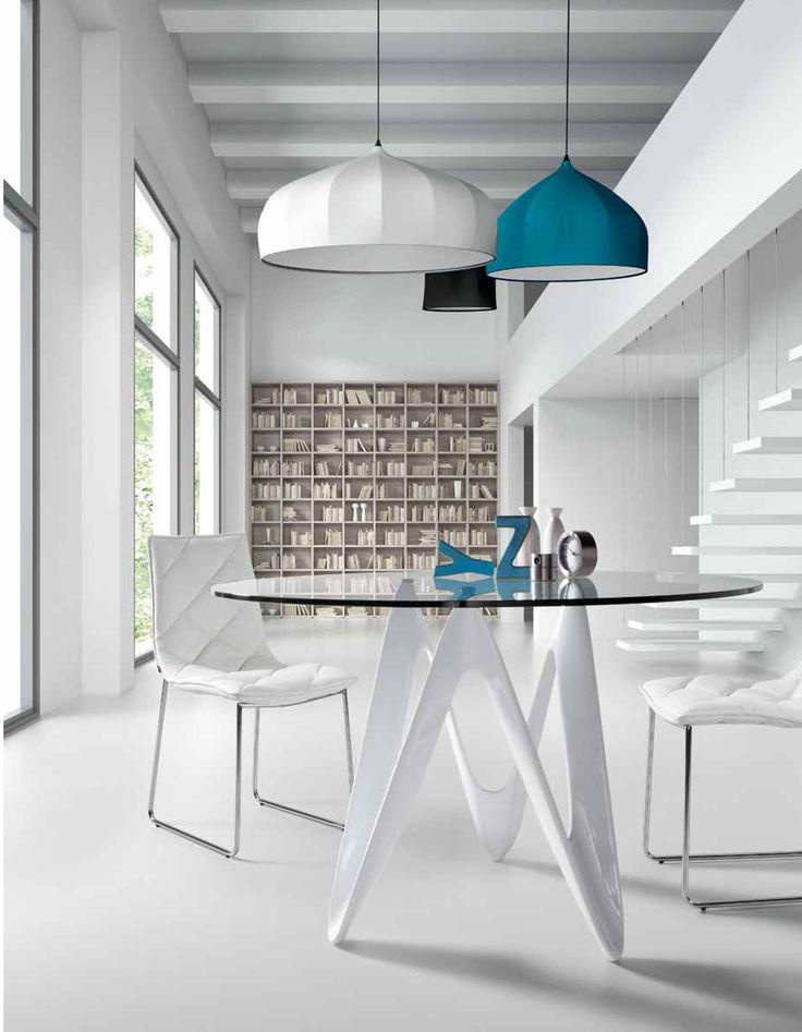 Tavolo in vetro e fibra di vetro finitura bianco assoluto rotondo design moderno Lapo. By Viadurini Living [www.viadurini.it]