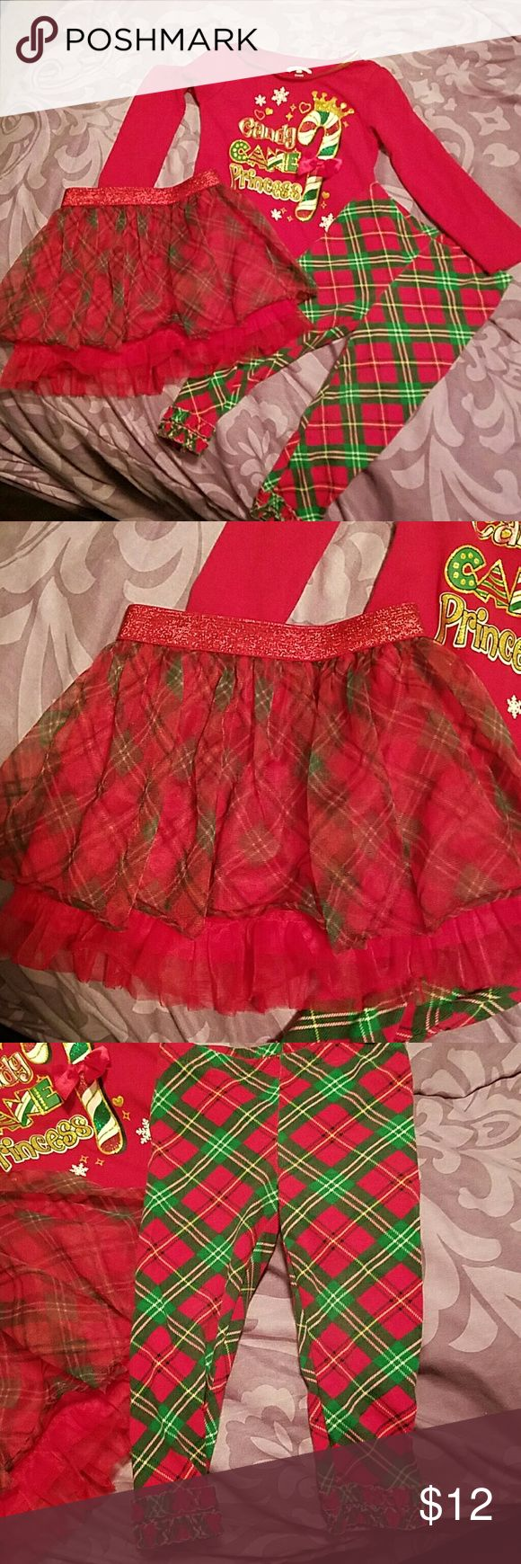 3 piece Christmas outfit  2t Really cute outfit comes with leggings and tutu skirt shirt says candy cane Princess.. Other