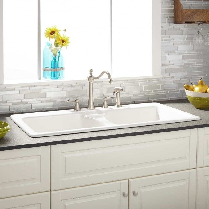 """43"""" Selkirk White Double-Bowl Cast Iron Drop-in Kitchen Sink"""