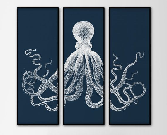 Octopus Triptych - 3 Large Prints - Navy Octopus Trio - Set of Three Prints - Large Nautical Wall Art - Octopus Illustration - SKU: 145-N