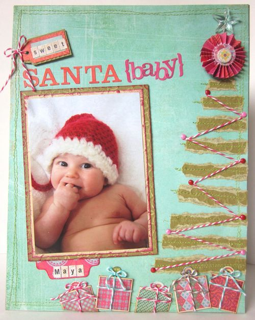 An adorable baby scrapbooking page by talented Melissa Oliveira using Basic Grey. The teal green and pink make a perfect color palette on this layout. Perfect for family Christmas scrapbooking pictures. #christmas_paper_crafts