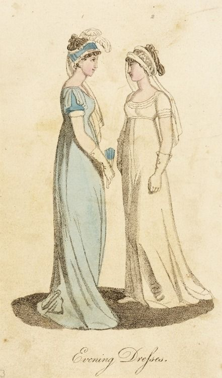 Evening dress, fashion plate, hand-colored engraving on paper, published London, undated early 19th century (probably 1800-04)