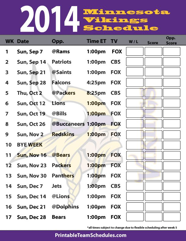 2014 Minnesota Vikings Schedule