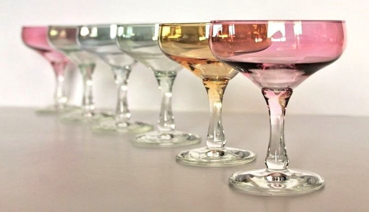Complete Set Of 6 Retro Harlequin Coloured Champagne Glasses C1960/70's