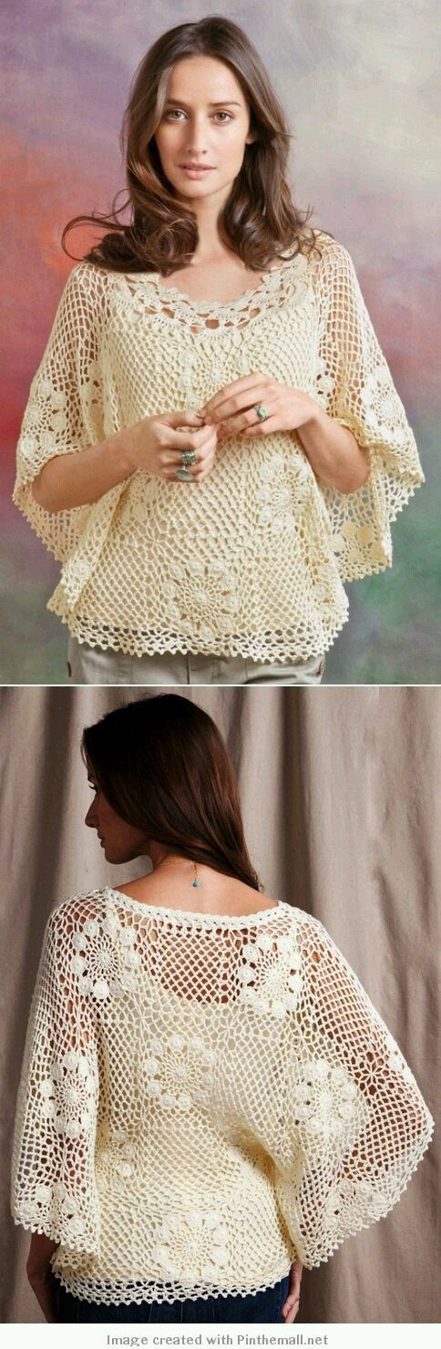 Crocheted Flowers Blouse MADE to ORDER