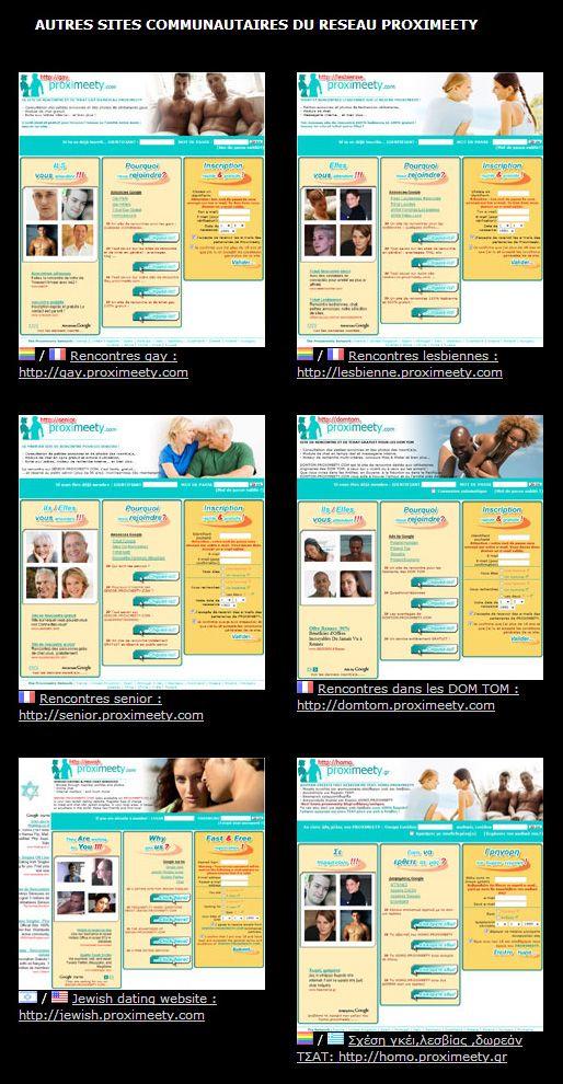 Nos sites de rencontre communautaires: http://gay.proximeety.com - http://lesbienne.proximeety.com - http://senior.proximeety.com - http://domtom.proximeety.com - http://jewish.proximeety.com - http://homo.proximeety.gr