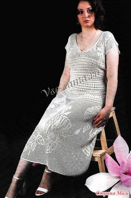 Платье филе крючком
